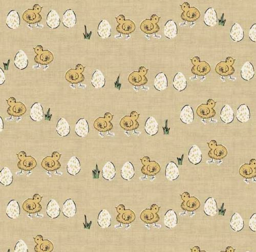 Makower Home Grown Chicks and Eggs - Yellow Fabric